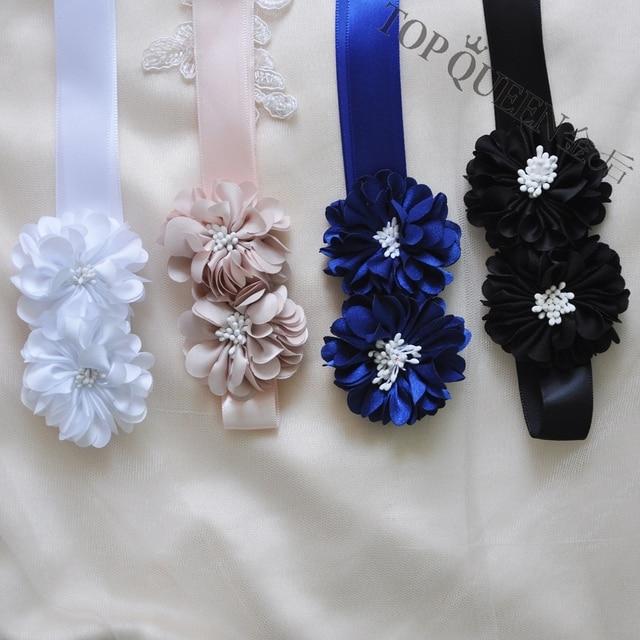 TOPQUEEN S342 novia cinturones de novia con flor negro boda cinturones joya  cinturones de tela real 1a212f791044