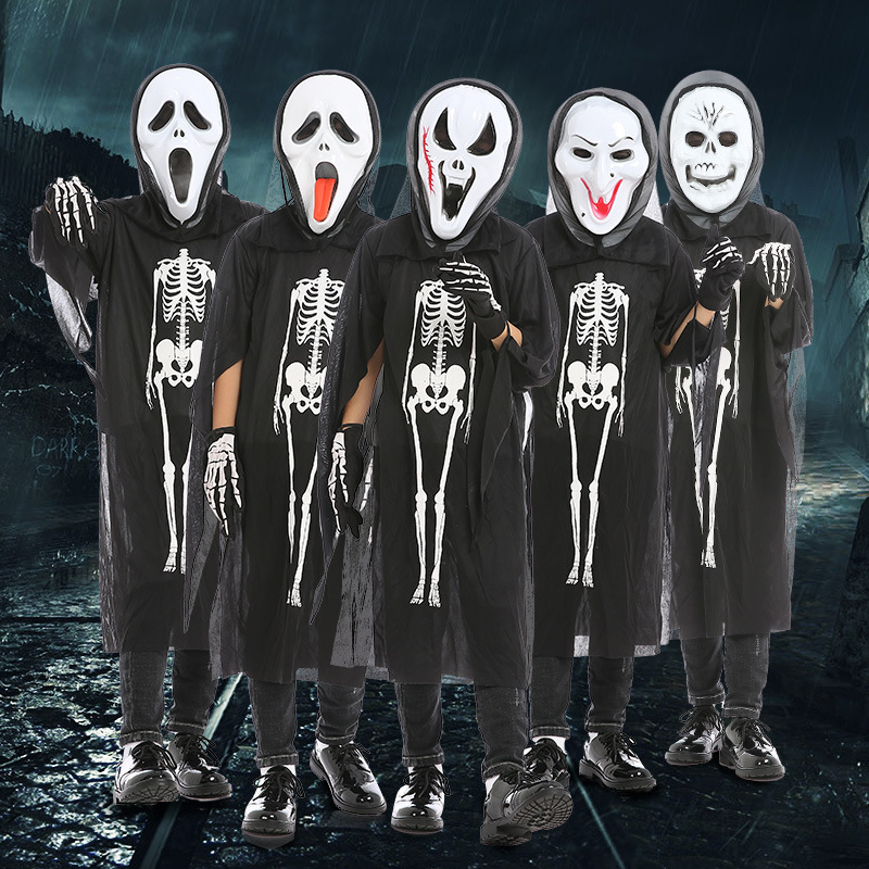 Glorious Devil Costume Girls Halloween Fantasy Costume For Kids Scary Boy Skeleton Costume With Mask Black Halloween Party Cosplay Home