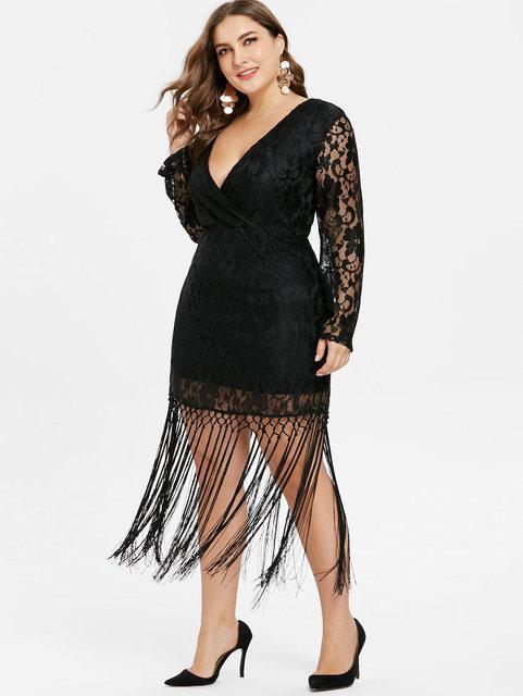 Wipalo Plus Size Long Sleeve Deep V Neck Lace Tassel Dress Sexy Lace Crochet Tassel Black Party Mid-Calf Dress Vestidos 3XL