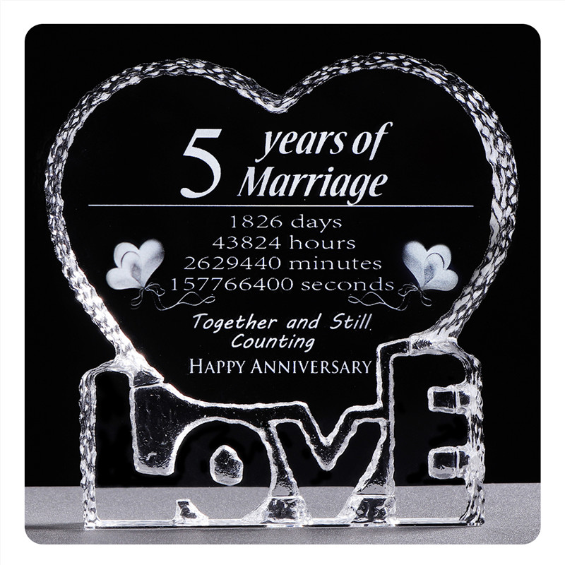 5 Years Wedding Anniversary Crystal Souvenirs Love Heart Shape Laser Engraving Unforgettable Gifts For Wife Husband Presents Party Favors Aliexpress