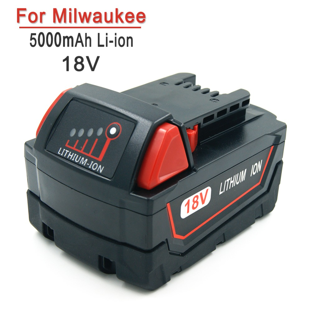 5000mAh 18V Rechargeable Cordless Tools Replacement Battery for Milwaukee M18 XC 48-11-1815 M18B2 M18B4 M18BX eleoption 18v li ion 4000mah replacement power tool battery for milwaukee m18 xc 48 11 1815 m18b2 m18b4 m18bx li18 and charger