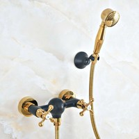 Oil Rubbed Bronze Bathroom Bath Wall Mounted Hand Held Gold Brass Shower Head Kit Shower Faucet Sets Kna512