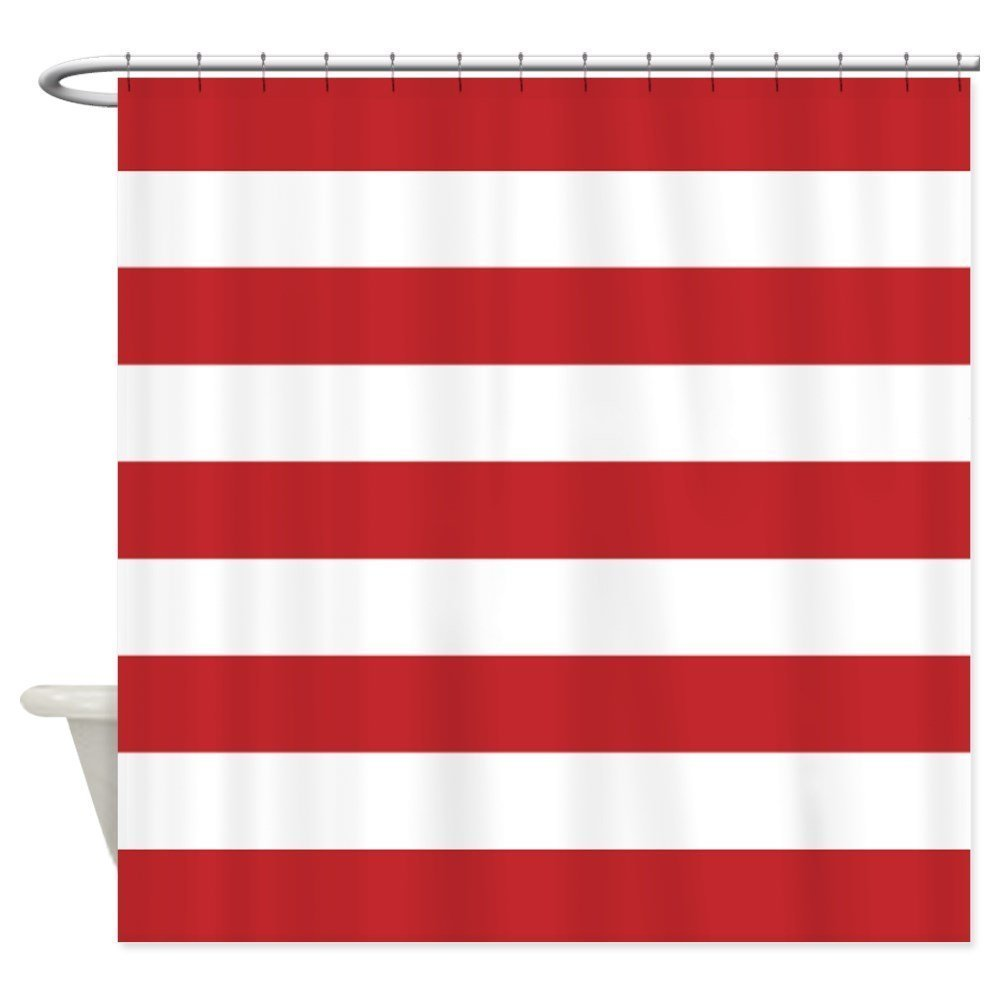 Memory Home Bathroom Decor Waterproof Curtains Red And White Stripe  Mildewproof Polyester Fabric Shower Curtain With
