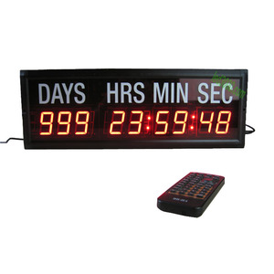 1.8inch red color 9digits days,hours,minutes and seconds led countdown timer with white sticker remote control wall mounting