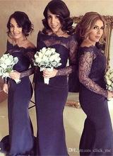 Navy Blue Long Sleeves Bridesmaid Dresses Mermaid Off Shoulder Lace Mermaid Wedding Guest Dress Maid Of Honor Gowns   BD156