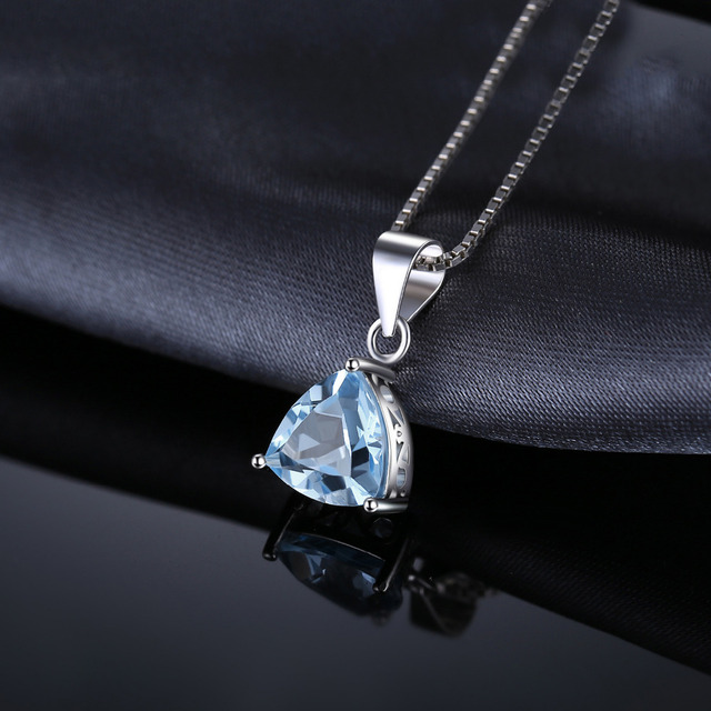 JewelryPalace Trillion 2.2ct Natural Sky Blue Topaz 925 Sterling Silver Pendants Necklaces For Women Jewelry Without Chain