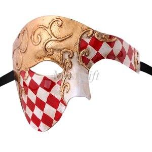 Лидер продаж черные туфли высокого качества красные, синие фиолетового и зеленого цветов, цвета: золотистый, серебристый Венецианская маска Halloween Пластик маскарадные маски - Цвет: red gold checked