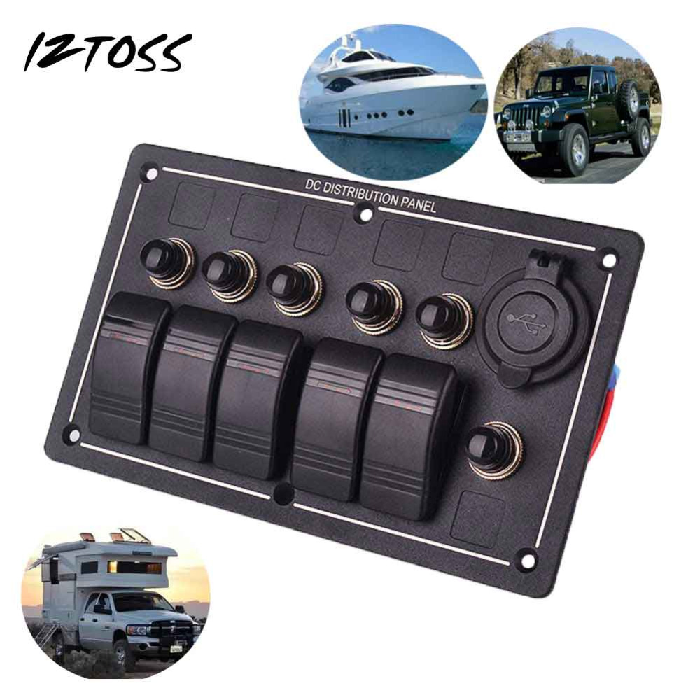 IZTOSS 5 Gang Aluminium LED Rocker Circuit Breaker Waterproof Marine Boat Rv ON-OFF Switch Panel With Cigarette USb Socket 5pcs lot 15 21mm 3pin on off on g120 boat rocker switch 6a 250v 10a 125v car dash dashboard truck rv atv home
