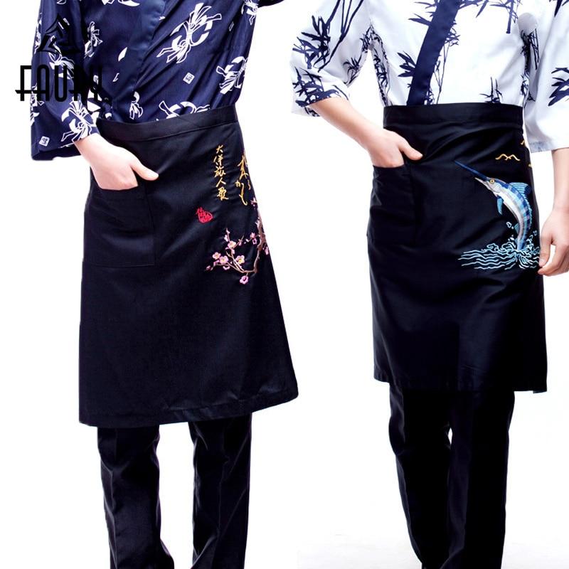 Unisex Korean Japanese Restaurant Chef Waiter Work Apron Wholesale Food Service Half-length Embroidery Sushi Aprons Overalls