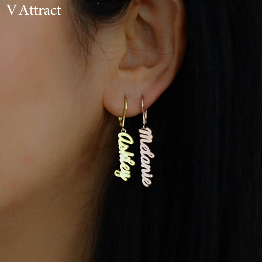 V Attract Rose Gold Personalized Name Earrings BFF Gift Custom Jewery Nameplate Drop Earring Stainless Steel Boucle D'oreille