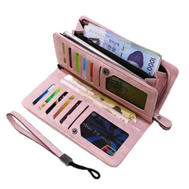 Women Multifunction Wallets Long Zipper Phone Pocket Female Card Holder Purses girl capacity clutch bag purse