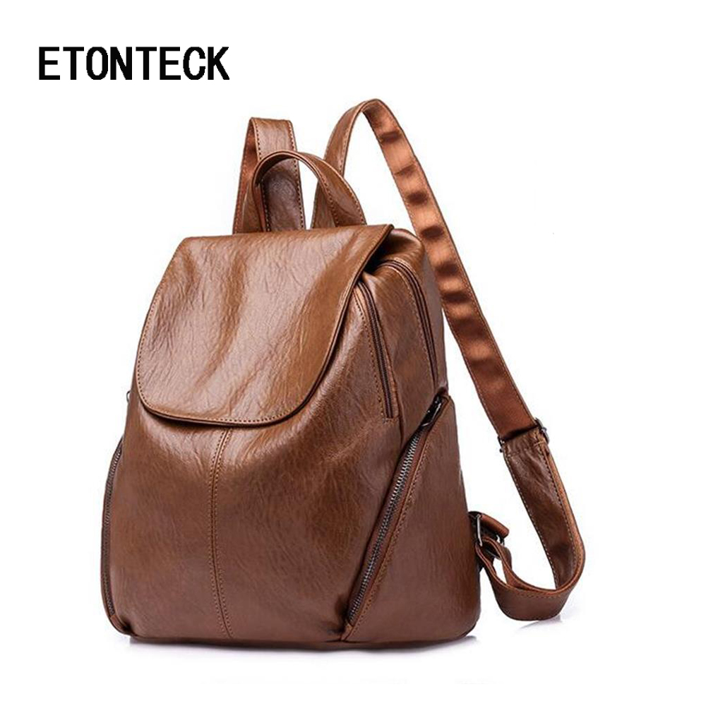ETONTECK New Travel Women Backpack Korean Women Female Rucksack Leisure Student School Bag Soft PU Leather Brand Women Bag 2018 new travel backpack feminine korean women fashion backpack leisure student schoolbag black soft pu leather women bag 14ba31 9 2