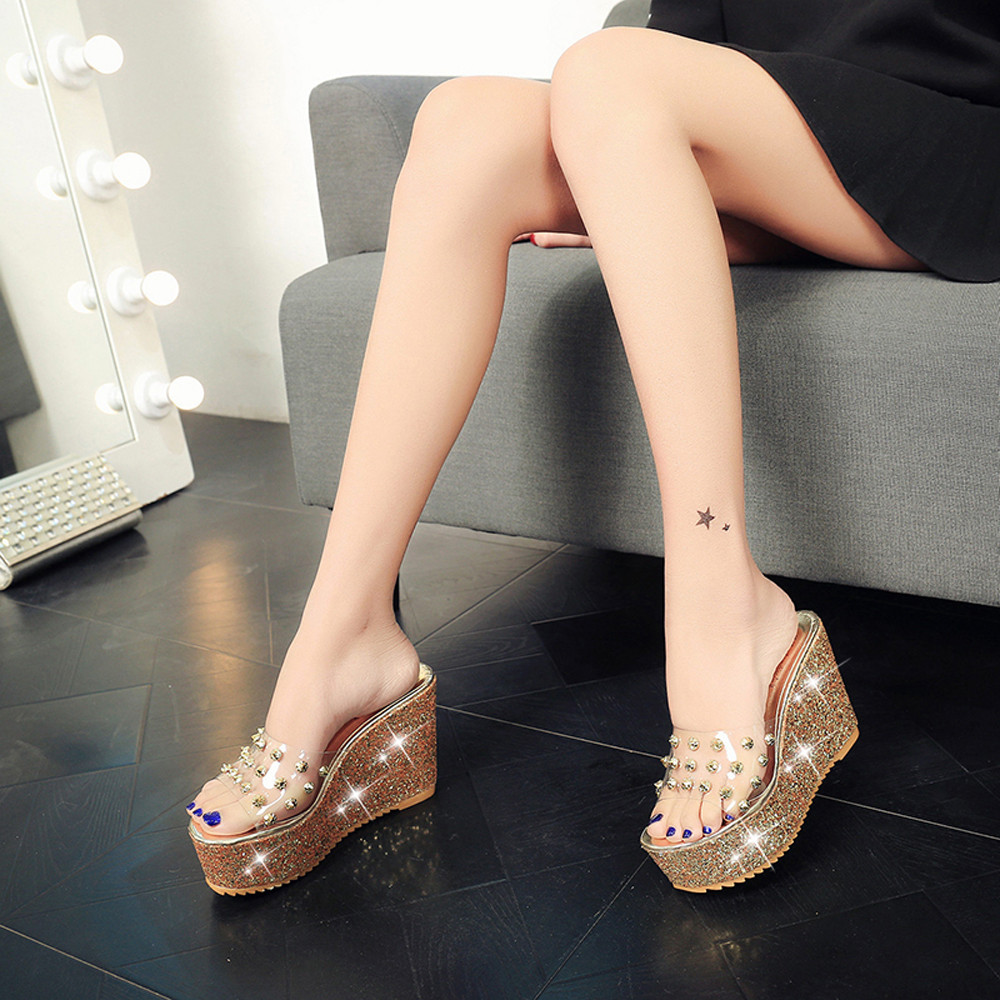 7cd628e664f Women Shoes Spring Summer Transparent Platform Waterproof Sandals Wedge  Sandals Women Slippers Female High Heel zapatos mujer-in High Heels from  Shoes on ...