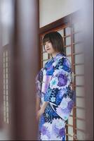 New Woman Cotton Kimono Japanese Summer Kimono Cardigan Kimono Blue Yukata Waistband Headdress Shoes