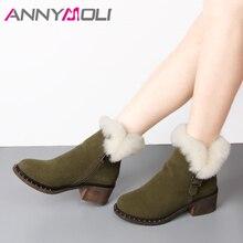 ANNYMOLI Ankle Boots Sapatos de Inverno Mulheres Botas De Neve Verdadeira Pele De Coelho Com Zíper Fivela Camurça da Vaca Quente de Pelúcia Vaias Curtas Calçado marrom
