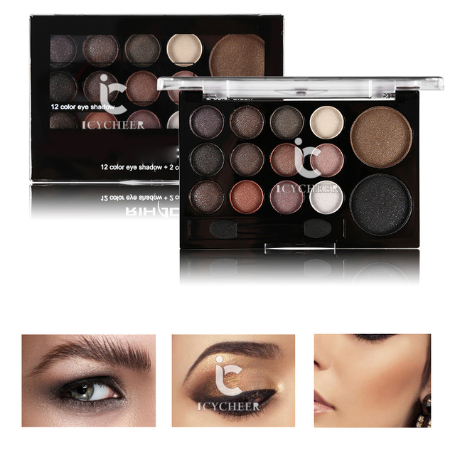 ICYCHEER Neutral Nude 14 Colors Makeup Eye Shadow Shimmer Warm Eyeshadow Palette Pigmented Smoky Silky Kit 3