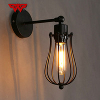 WOOTOP Nordic American retro living room balcony light mini iron frame LED wall light creative rural nostalgic single chandelier