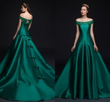 robe de soriee Vintage Off the Shoulder Pearls Lace Bowknot Formal Dresses 2019 Green Evening Prom Party Gowns Vestidos Customed