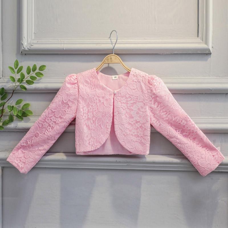 41becf1618b5 Dropwow Lace Girls Bolero Kids Party Coat Pink Formal Wraps Shrug ...