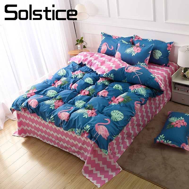 Solstice Pillowcase Duvet-Cover Flat-Sheet Flamingo Blue Bedding-Set Linen-Kit Home-Textile