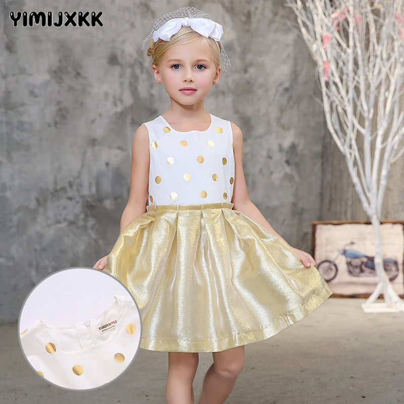 3-8 years old  Hot2017 Children Girls Dresses Summer 100%Cotton Sleeveless Dots Dress Baby Girls Princess Dresses Gold Color Hem 1 3 years 100