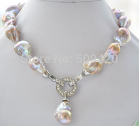 Free Shipping Rare 17 23mm lavender baroque keshi Reborn necklace pendant #@