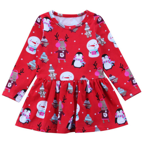 Baby Girls Dress Red Xmas Christmas Party Snowman Princess Penguin Cotton O-neck Long Sleeve Tulle Tutu Dress Girl Clothing Cute пинетки митенки blue penguin puku
