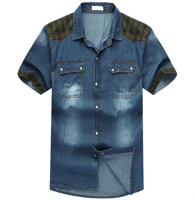 Verano los hombres de moda casual hombres camiseta de manga corta más el tamaño de los pantalones vaqueros camisas camisas m1306 xl xxl xxxl 4xl 5xl 6xl