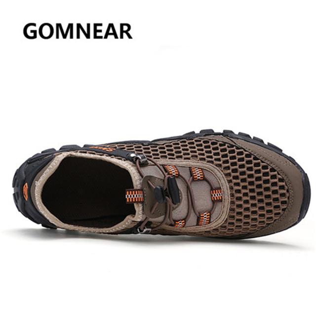 GOMNEAR Summer Hiking Shoes  For Men Breathable Light Outdoor Mountain Climbing Shoes Antiskid Damping TPR Outsole Sneakers