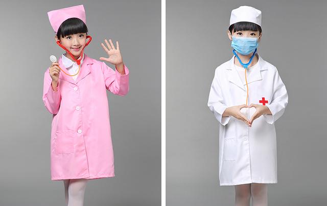 2016 la muchacha del cabrito del muchacho traje de enfermera médico ropa cos juegan juego rollo nuevo otoño primavera otoño
