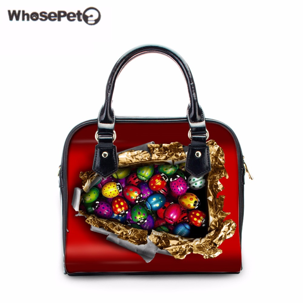 WHOSEPET 3D Ladybugs Girls Handbags Fashion Ladies Totes Female Crossbody Shoulder Bags Women Mini Clutch Purse Bag Small Tote whosepet eiffel tower fashion ladies totes messenger bag female top handle bags women pu leather vintage bag small crossbody bag