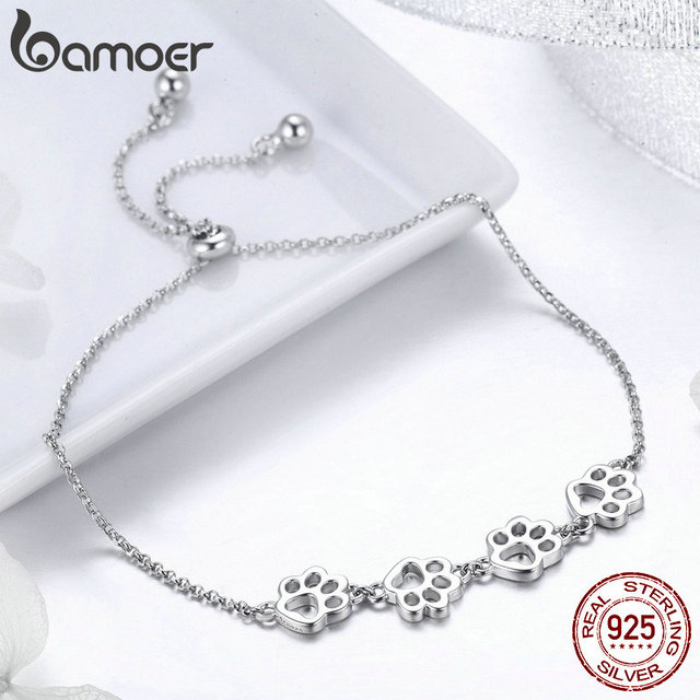 BAMOER New Arrival Genuine 925 Sterling Silver Animal Footprints Chain Bracelets 2