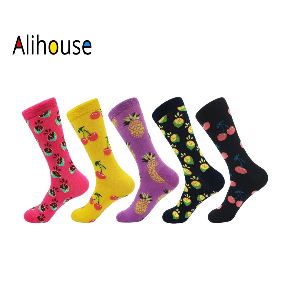 Alihouse Men Socks Happy Socks 5 Pairs/lot Funny Colorful Fruits Pattern Combed Cotton Casual Dress Wedding Gifts Crew Socks Men