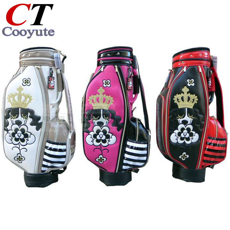 Prix pour Cooyute Nouveau FEMMES sac De Golf De Haute qualité PU De Golf clubs sac dans le choix 8.5 pouce MU Golf Panier sac Livraison gratuite