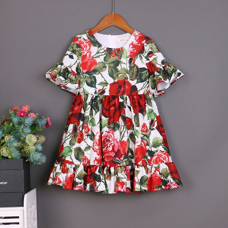 Summer beach vacation children family matching clothes mother daughter dress kids Toddler skirt red rose women and girl clothing summer children clothing family clothes kids infant girls women opulent rose print dress matching mother daughter fashion dress