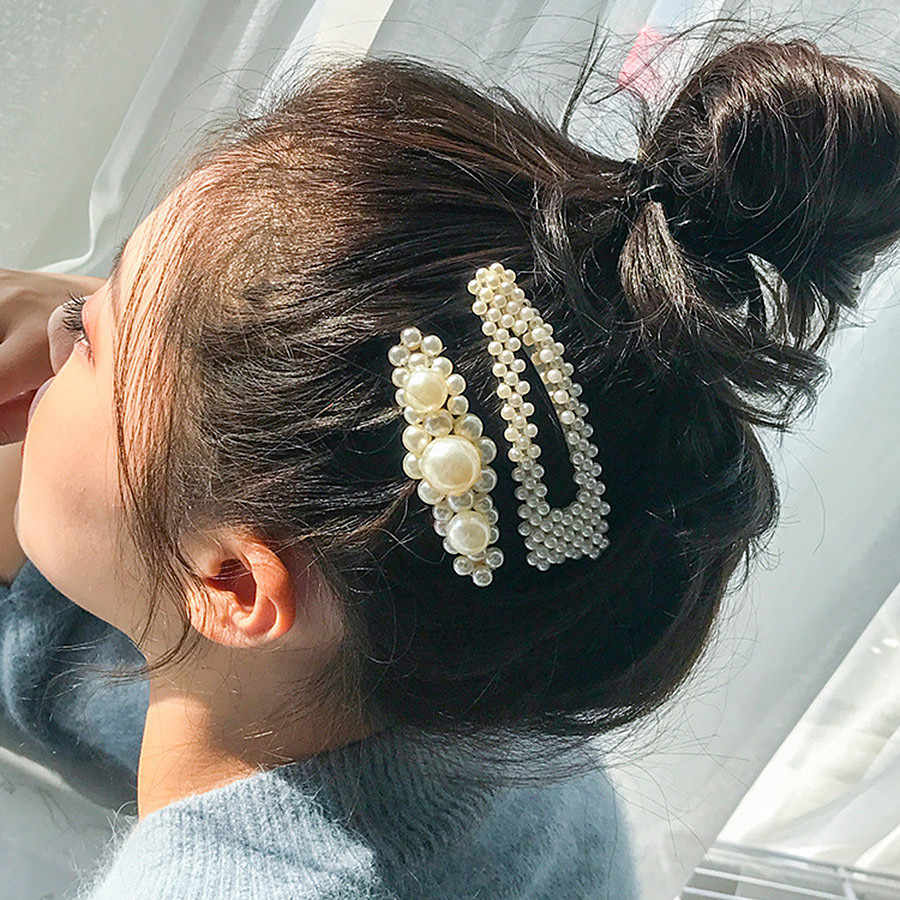 Handmade 2PCS Simulated Pearl Barrettes Hair Clip Silver Gold Big Comb Bobby Pins Hair Accessories Japan Hairgrip Headdress 2019