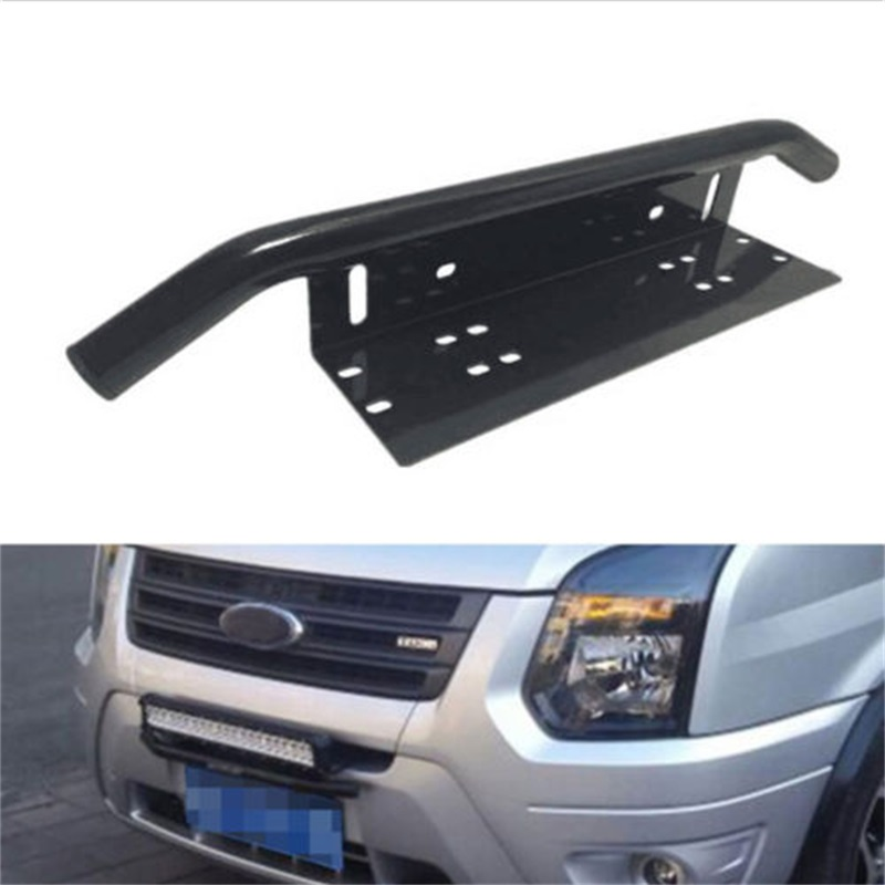 BBQ@FUK Black Front Bumper 23 Bull Bar Working LED Lights License Plate Braket Holder Fit for Compass Truck Pickup SUV 4x4 etc set j40 black steel different trail front bumper w winch plate