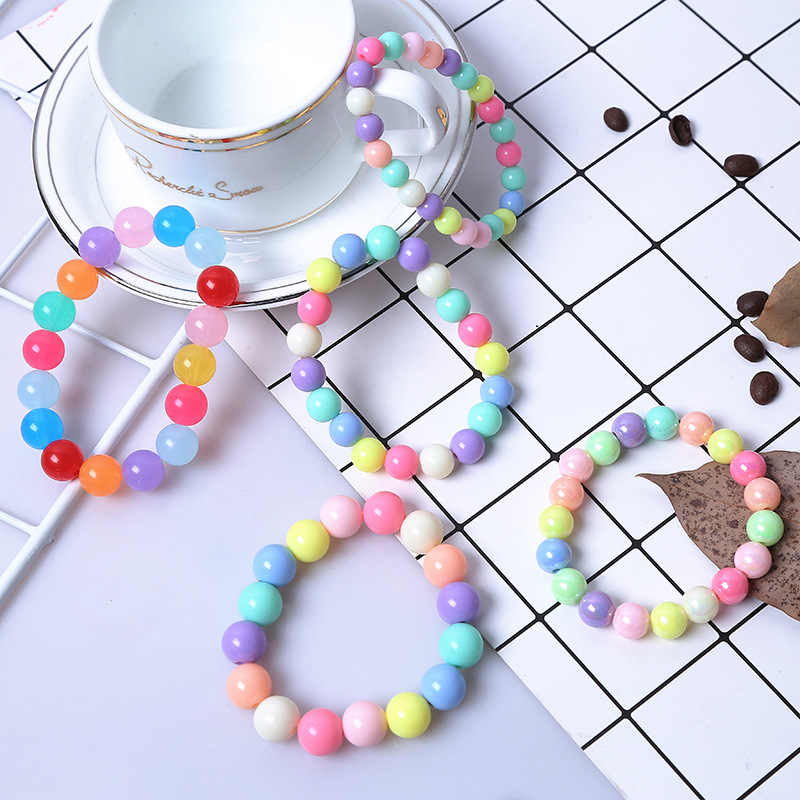 Fashion Cute Candy Color Acrylic 8mm 10mm 12mm Beads Gift for Child Bracelets Princess Baby Girl Jewelry Kid Accessories
