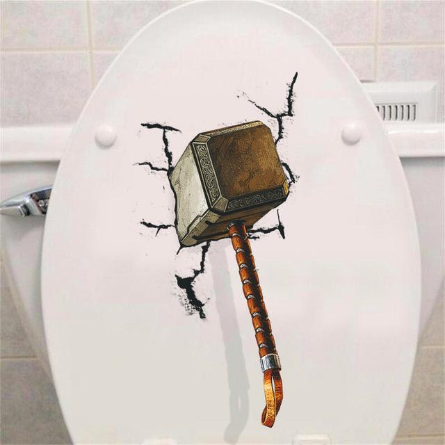 Thor hammer broken wall sticker
