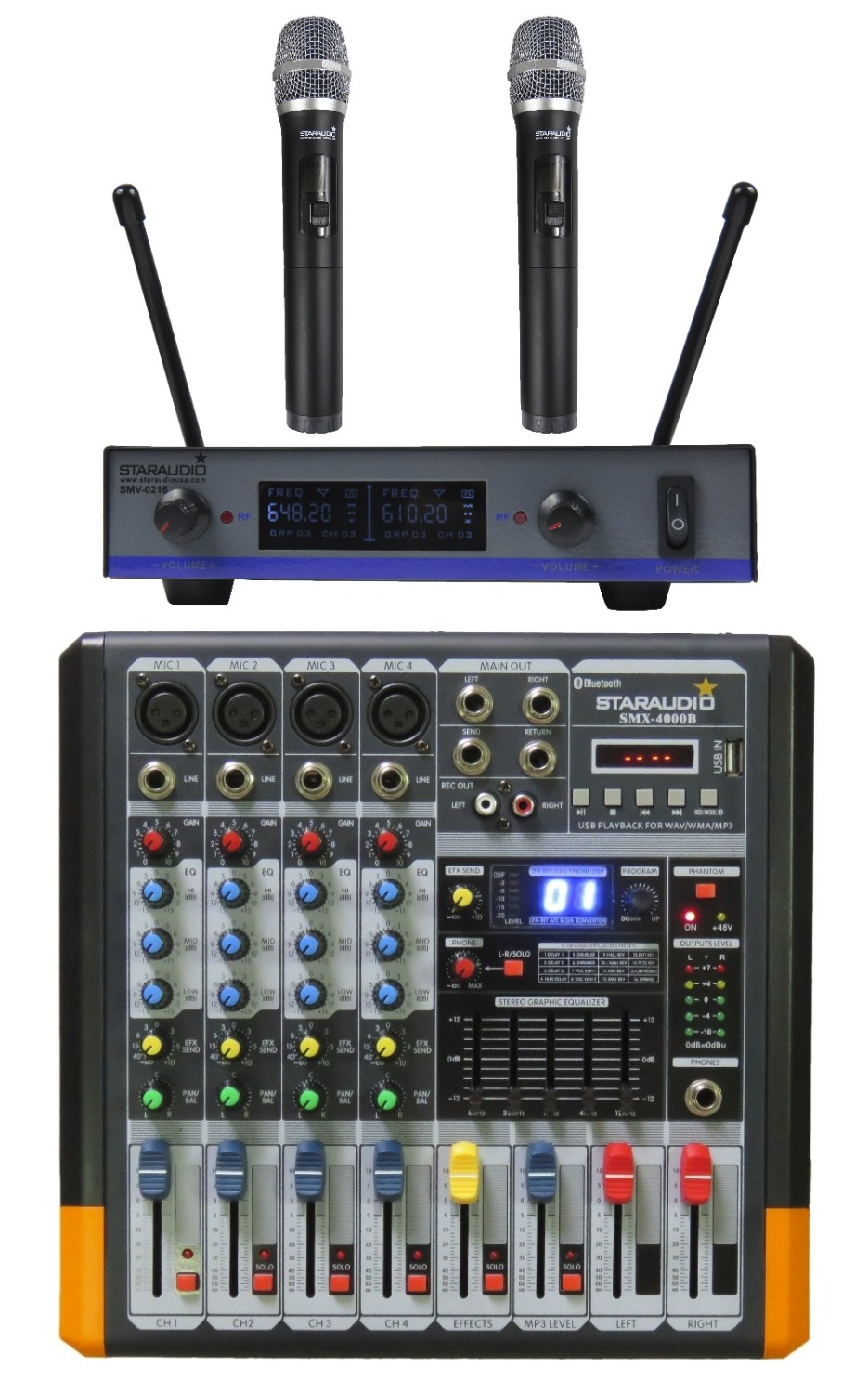 STARAUDIO Pro PA DJ Stage 4 Channel 2000W Amplifier Powered MP3 Bluetooth USB SD 16 DSP Mixer with 2CH UHF Mics SMX-4000B