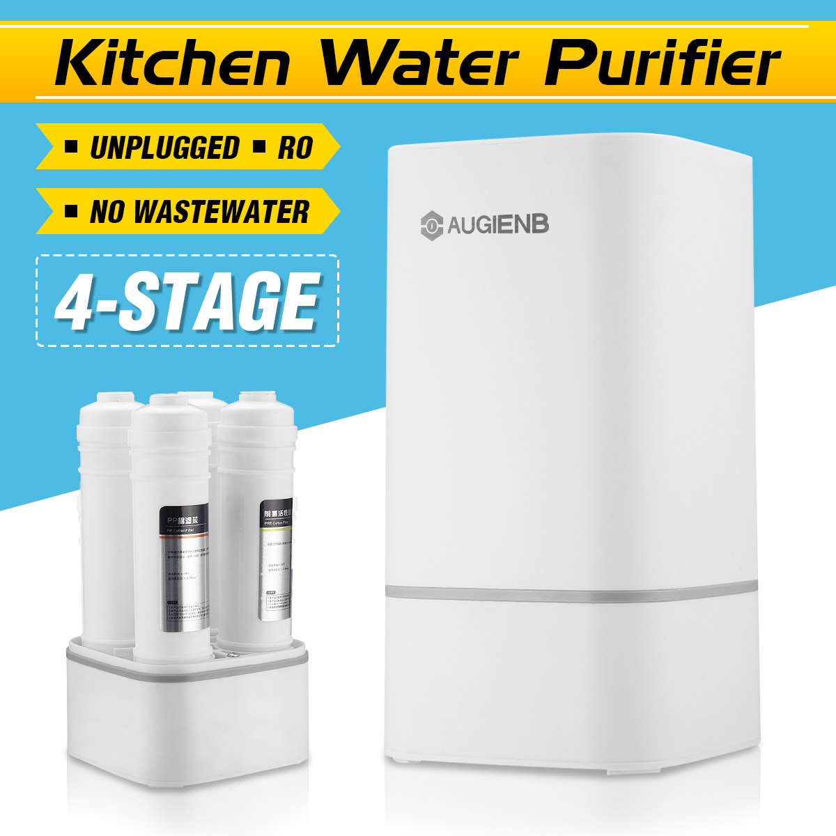 Countertop Reverse Osmosis Water Filtration System  4 Stage RO Water Filter  Simple Set Up Faucet Filter  Express Water-White