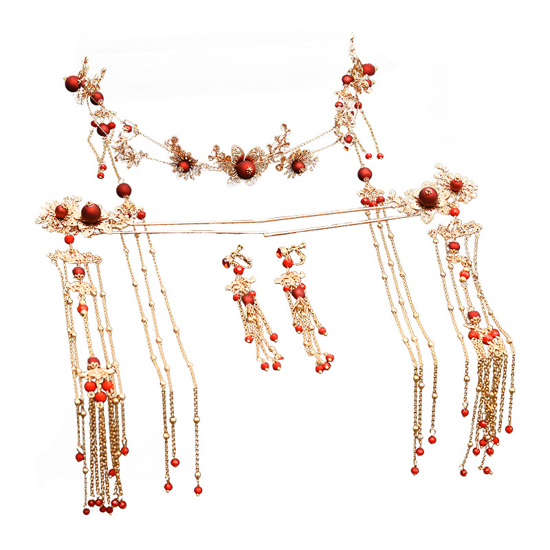 Elegant Ancient Chinese Red Beading Bridal Headdress Golden Tassel Hairpins Wedding Ornaments Hair Jewelry 3