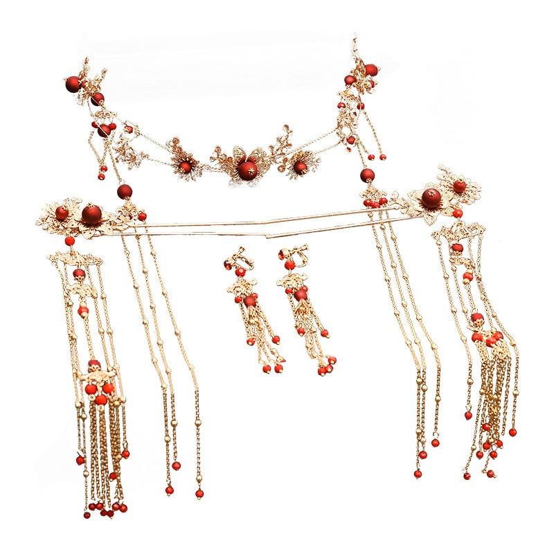 Elegant Ancient Chinese Red Beading Bridal Headdress Golden Tassel Hairpins Wedding Ornaments Hair Jewelry 3