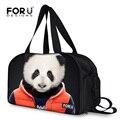 FORUDESINGS Impressão Panda Saco de Viagem Bagagem Grande Mochila de Viagem para As Mulheres Dobrável de Lona Saco Da Senhora Saco de Fim de Semana Bagagem De mão