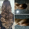 Ombre Brazilian Virgin Hair Clip In On Human Hair Extensions Natural Straight Clip Ins 7pcs/set BY108