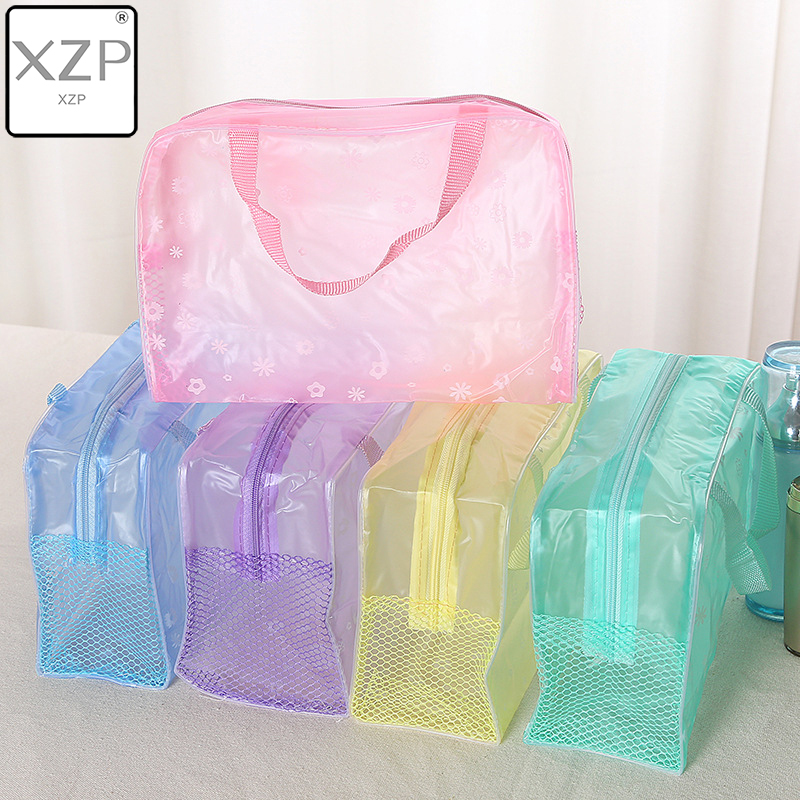 XZP 5 Color Make Up Organizer Bag Toiletry Bathing Storage Bag Women Waterproof Transparent Floral PVC Travel Scrub Cosmetic Bag