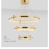 silvery Golden Chandelier Crystals Diamond Ring LED Lamp Stainless Steel Hanging Light Fixtures Adjustable Cristal LED Lustre