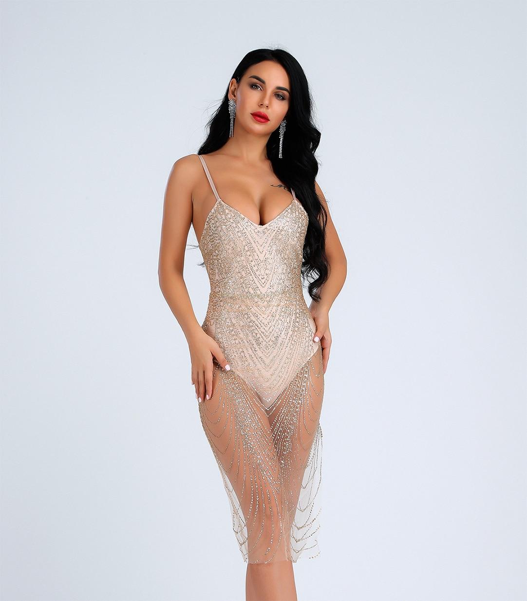 Lyer 2019 fête sexy robes serré maille repassage poudre bandage robe