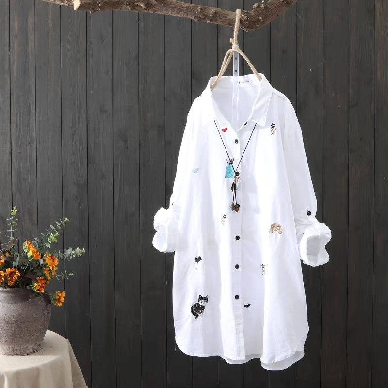 Plus size Cotton Embroidery women loose long white shirts 2019 spring autumn NEW casual ladies blouse female tops oversize(China)