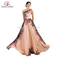 Hot Sale Grace Karin Sexy One Shoulder Chiffon Flower Print Long Formal Evening Gowns Pleated Women